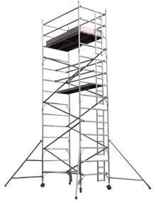 Narrow aluminium scaffold towers